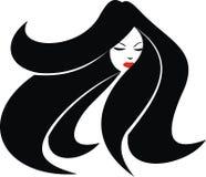 Flickaframsida och trevligt hår royaltyfri illustrationer