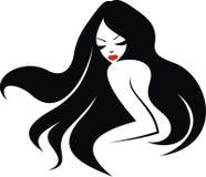 Flickaframsida och trevligt hår stock illustrationer
