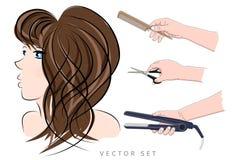 Flickafrisörhjälpmedel vektor illustrationer