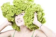 flickafrisyrgrönsallat Arkivbilder