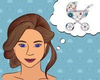 Flickafunderare med anförandebubblabarnvagn Royaltyfri Bild
