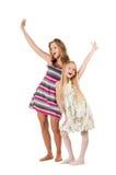 flickaglädje som ropar två Arkivfoton