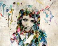 flickagrangevattenfärg stock illustrationer