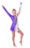 Flickagymnast med medaljer Arkivbild