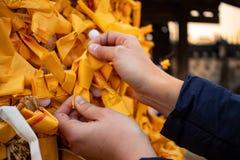 Flickahänder som justerar upp ett gulingpapper för bra lycka, knyter på den asiatiska templet royaltyfri foto