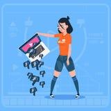 Flickahållbärbar dator med för tumme för BloggerVlog ner modern video motvilja för kanal skapare royaltyfri illustrationer