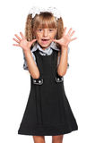 flickahår isolerade fjuttig uniform white för liten elevskolastudio Royaltyfria Bilder