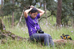 Flickahandling i pinjeskog Fotografering för Bildbyråer