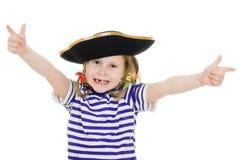 flickahatten piratkopierar den ruskiga skjortan Arkivbild