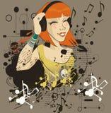 flickaheadphonen lyssnar musik till barn Royaltyfri Bild