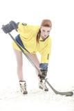 Flickahockeyspelare Fotografering för Bildbyråer