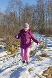 Flickahopp i skog Arkivbilder