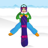Flickaidrottsman nen skida vintern för snowsportspår snowboard royaltyfri illustrationer
