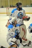 Flickaishockeymatch Arkivfoton