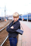 flickajärnvägstation fotografering för bildbyråer