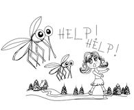 Flickakörningar i väg från myggor Arkivfoton