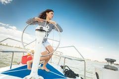 Flickakapten av yachten Fotografering för Bildbyråer