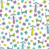 Flickakatt och gullig sömlös vektormodell för blommor royaltyfri illustrationer