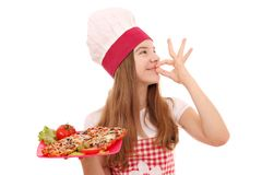 Flickakock med smörgåsar arkivbilder