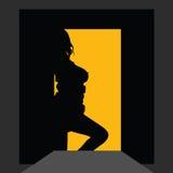 Flickakontur på dörren Arkivbilder