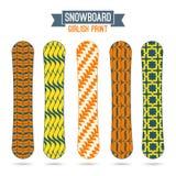 Flickaktiga tryck för snowboards Arkivbilder