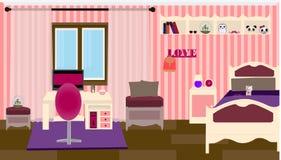 Flickaktigt ett sovrum stock illustrationer
