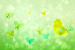 Flickaktigt fågel- och fjärilsdesign Arkivfoto