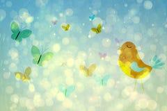Flickaktigt fågel- och fjärilsdesign Royaltyfri Foto