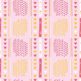 Flickaktigt rosa Memphis Style Geometric Abstract Seamless vektormodell stock illustrationer