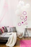 Flickaktigt rum för liten prinsessa Arkivfoton