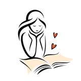 Flickaläsning och romantisk bok Arkivfoton