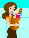 flickalivsmedelsbutik Arkivbild