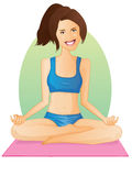 flickalotusblommar poserar yoga Royaltyfri Illustrationer