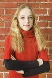 flickalyckatonåring Arkivbild