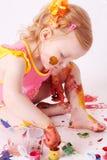 flickamålarfärg Arkivbilder