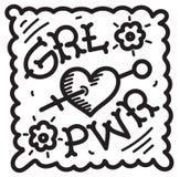 Flickamakt för GRL PWR - räcka utdragen bokstäveruttrycksfeminism calli Arkivfoto
