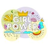 Flickamaktvektor Motivational slogan för kvinna Royaltyfri Fotografi