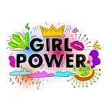 Flickamaktvektor Motivational slogan för kvinna Royaltyfria Foton