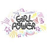 Flickamaktvektor Motivational slogan för kvinna Fotografering för Bildbyråer