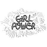 Flickamaktvektor Motivational slogan för kvinna Royaltyfri Foto