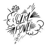 Flickamaktvektor Motivational slogan för kvinna Arkivfoton