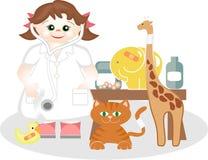 flickamedicin som leker litet veterinär- Fotografering för Bildbyråer