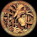 Flickamedicinman med flöjten med skallen på huvudet royaltyfri illustrationer