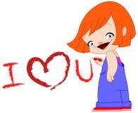 flickan älskar jag dig Royaltyfri Foto