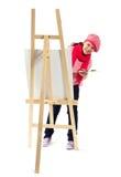 Flickan är den unga konstnären Royaltyfria Bilder
