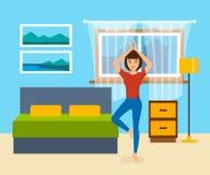 Flickan är förlovad i yoga och övar i sovrummet vektor illustrationer