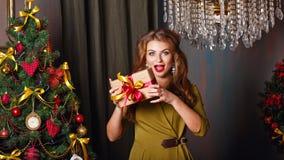Flickan är lycklig gåvan jul min version för portföljtreevektor Royaltyfria Bilder