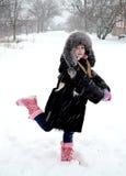 Flickan det snön Royaltyfri Fotografi