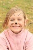 Flickan drawen som en katt Royaltyfria Bilder