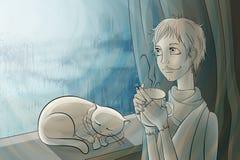 Flickan dricker te bredvid fönstret stock illustrationer
